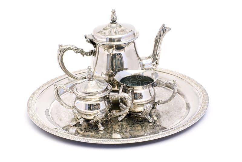 Jogo de chá de prata fotografia de stock royalty free