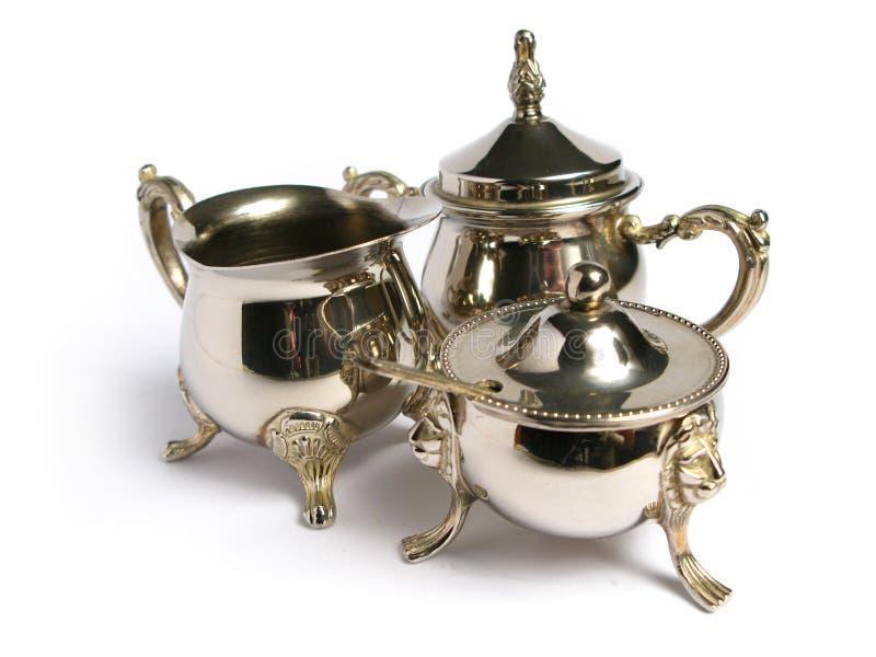 Jogo de chá de prata cromado fotos de stock royalty free