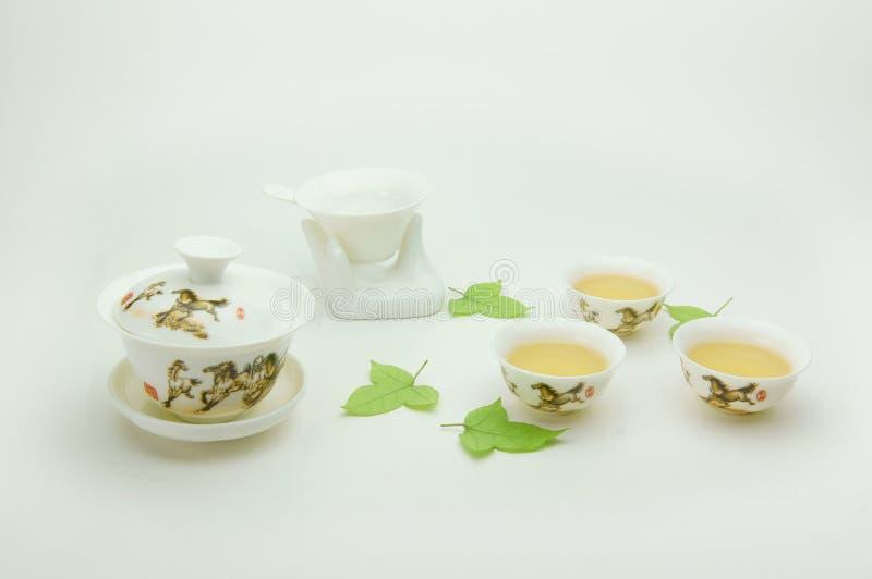 Jogo de chá novo da porcelana de osso fotografia de stock