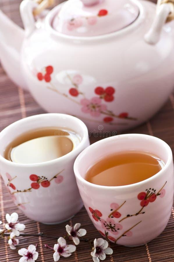 Jogo de chá verde fotografia de stock