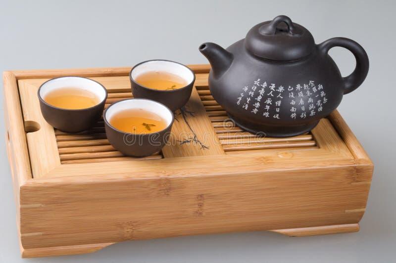 Jogo de chá verde fotografia de stock royalty free