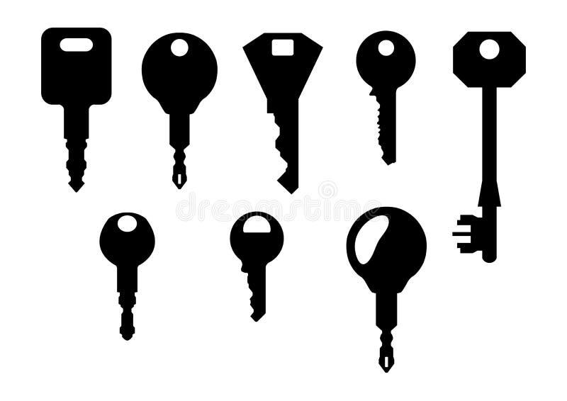 Jogo de chaves do agregado familiar ilustração do vetor