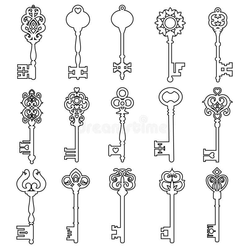 Jogo de chaves do vintage ?cone chave do vetor do vintage Ilustração chave do símbolo ilustração do vetor