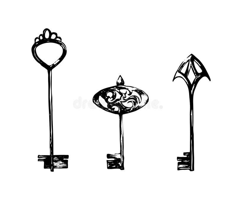 Jogo de chaves do vintage Ilustração tirada mão do esboço Desenho de tinta preta do vetor isolado no fundo branco Estilo do Grung ilustração do vetor
