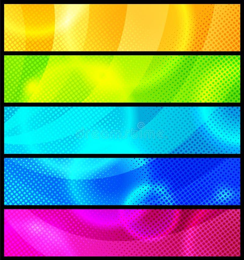 Jogo de cinco bandeiras abstratas/vetor ilustração royalty free