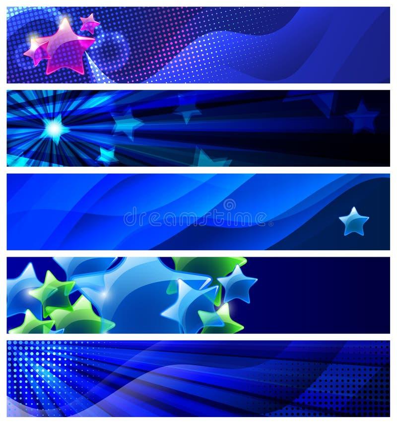 Jogo de cinco bandeiras das estrelas/vetor ilustração royalty free