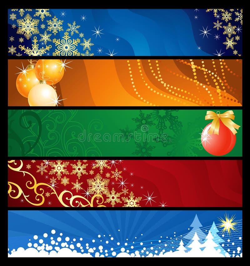 Jogo de cinco bandeiras do Natal ilustração do vetor