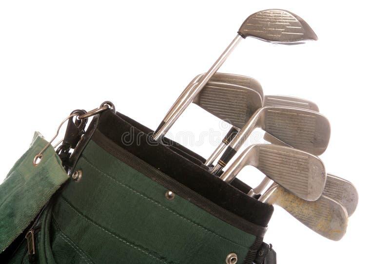 Jogo de clubes de golfe usados imagens de stock royalty free