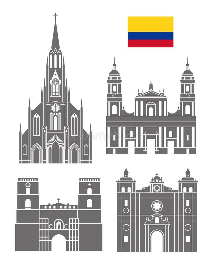 Jogo de Colômbia Arquitetura isolada de Colômbia no fundo branco ilustração stock