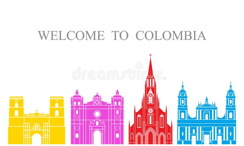 Jogo de Colômbia Arquitetura isolada de Colômbia no fundo branco ilustração do vetor