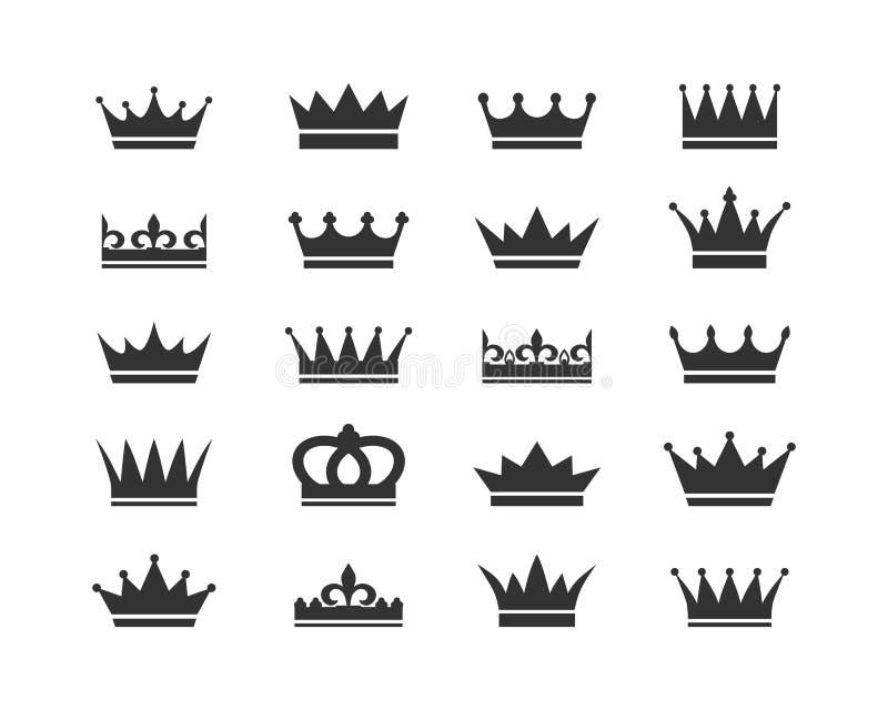 Jogo de ?cones da coroa Cole??o de concess?es da coroa para vencedores, campe?es, lideran?a O vetor isolou elementos para o logot ilustração royalty free