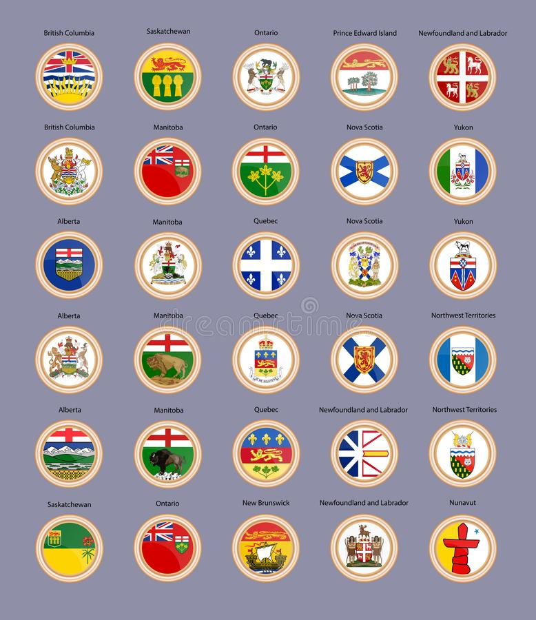 Jogo de ?cones do vetor Regiões de bandeiras e de brasão de Canadá ilustração royalty free