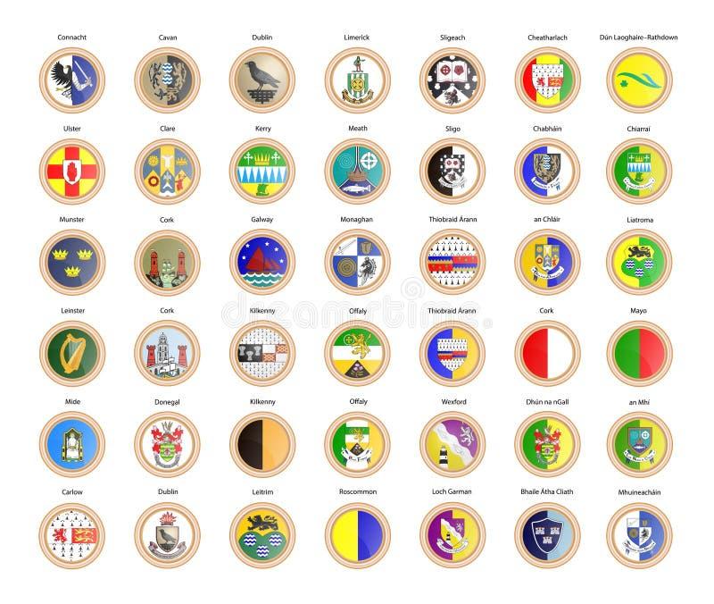 Jogo de ?cones do vetor Regiões de bandeiras, de províncias e de condados da Irlanda ilustração do vetor