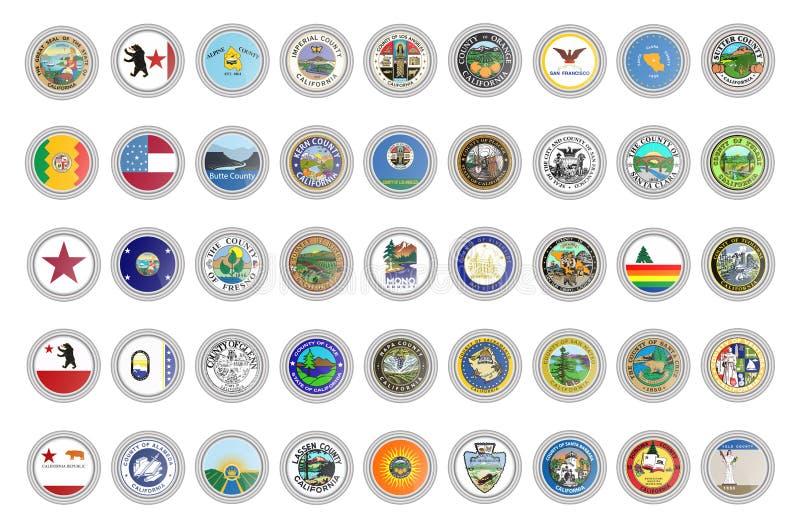 Jogo de ?cones do vetor Selos do estado de Califórnia, EUA ilustração stock
