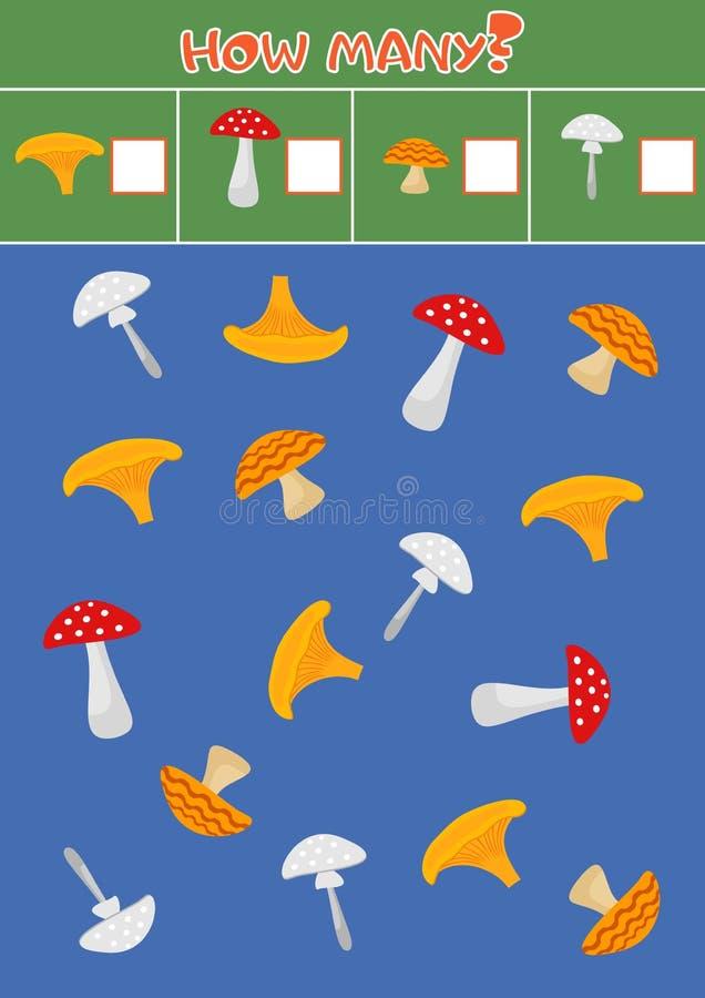 Jogo de contagem educacional para crianças prées-escolar com uma variedade de cogumelos ilustração stock