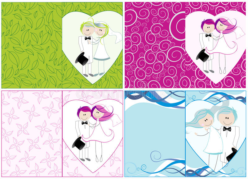 Jogo de convites bonitos do casamento ilustração do vetor
