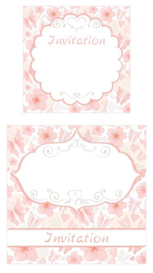 Jogo de convites florais ilustração stock