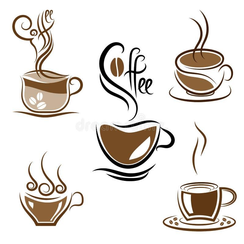 Jogo de copos de café ilustração royalty free