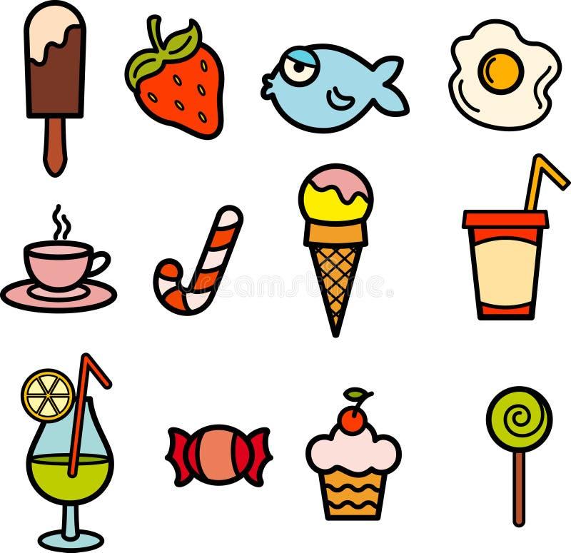 Jogo de cor do ícone do alimento ilustração stock