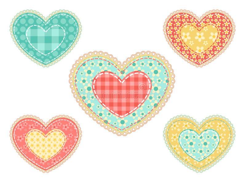 Jogo de corações dos retalhos. ilustração royalty free