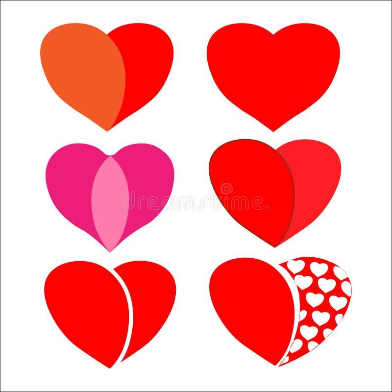 Jogo de corações vermelhos ilustração do vetor