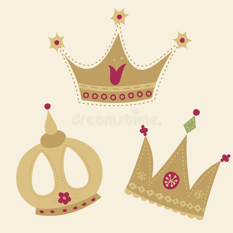 Jogo de coroas douradas ilustração stock