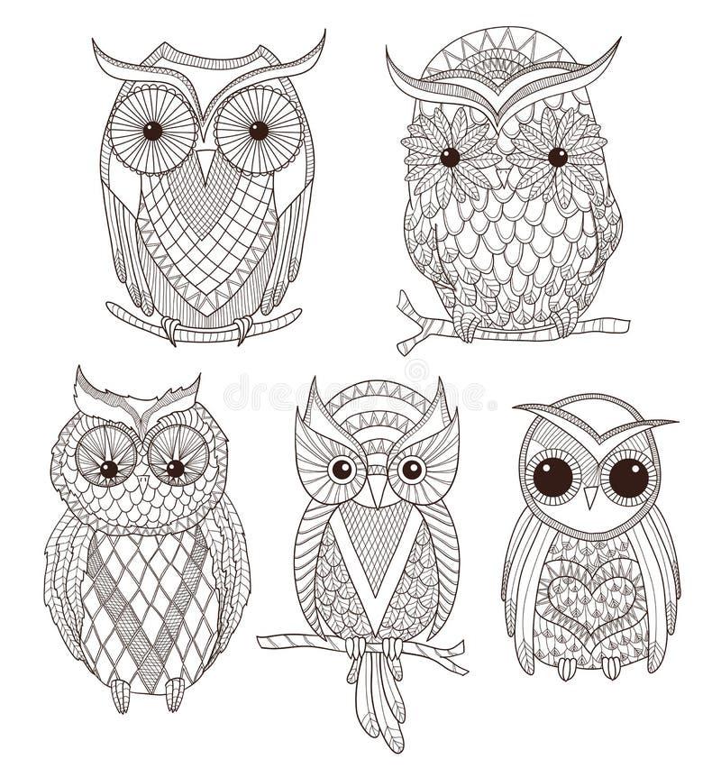 Jogo de corujas bonitos ilustração stock