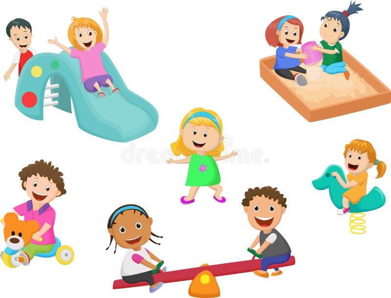 Jogo de crianças bonito com os brinquedos no jardim de infância ilustração do vetor