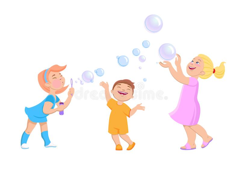 Jogo de crianças dos desenhos animados com bolhas de sabão ilustração do vetor