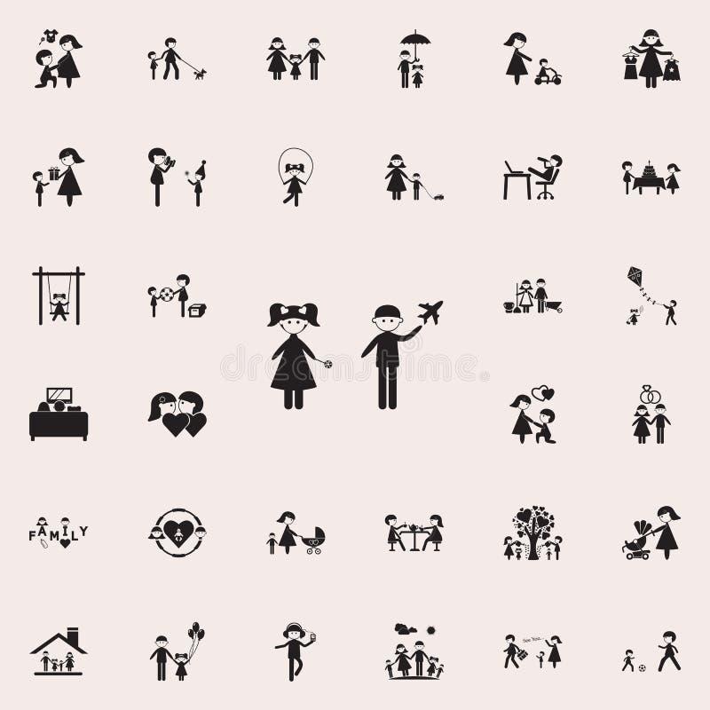 jogo de crianças no toysicon Grupo universal dos ícones da família para a Web e o móbil ilustração stock