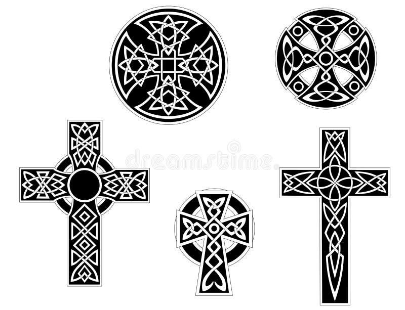 Jogo de cruzes celtas do vintage ilustração do vetor