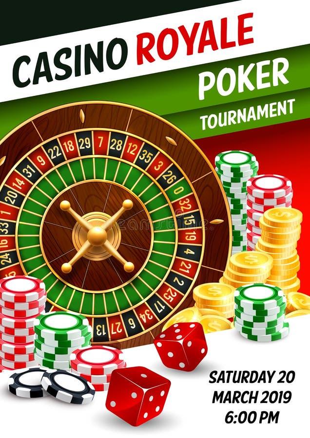Jogo de jogo do pôquer do casino, roleta, dado, microplaquetas ilustração royalty free