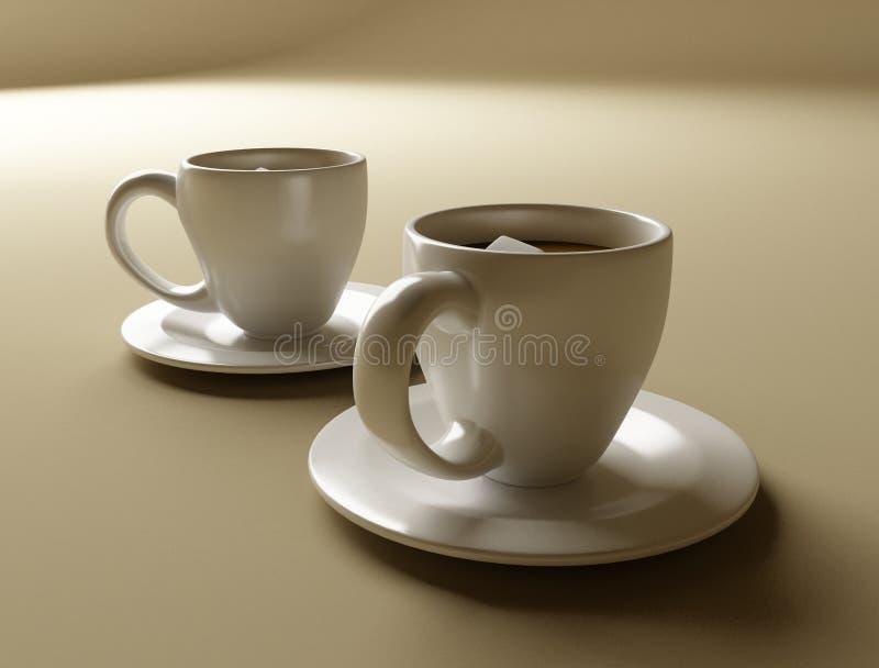 Jogo de dois copos de café ilustração do vetor