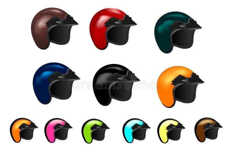 Jogo de doze capacetes da motocicleta, vetor dos cdr ilustração stock