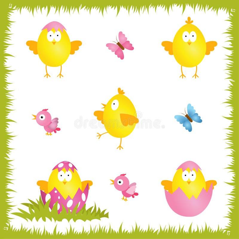 Jogo de Easter Grupo bonito da galinha dos desenhos animados Galinhas amarelas engraçadas Vec ilustração do vetor