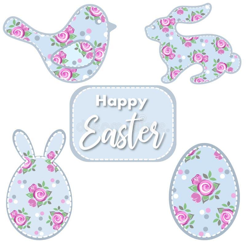 Jogo de Easter Pássaro da Páscoa, coelho, ovo com rosas ilustração royalty free