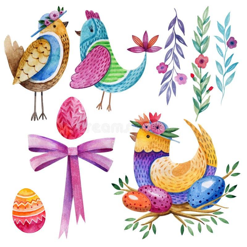 Jogo de Easter Símbolos do feriado Pássaros fabulosos, ovos da páscoa, flores e uma curva cor-de-rosa watercolor ilustração royalty free