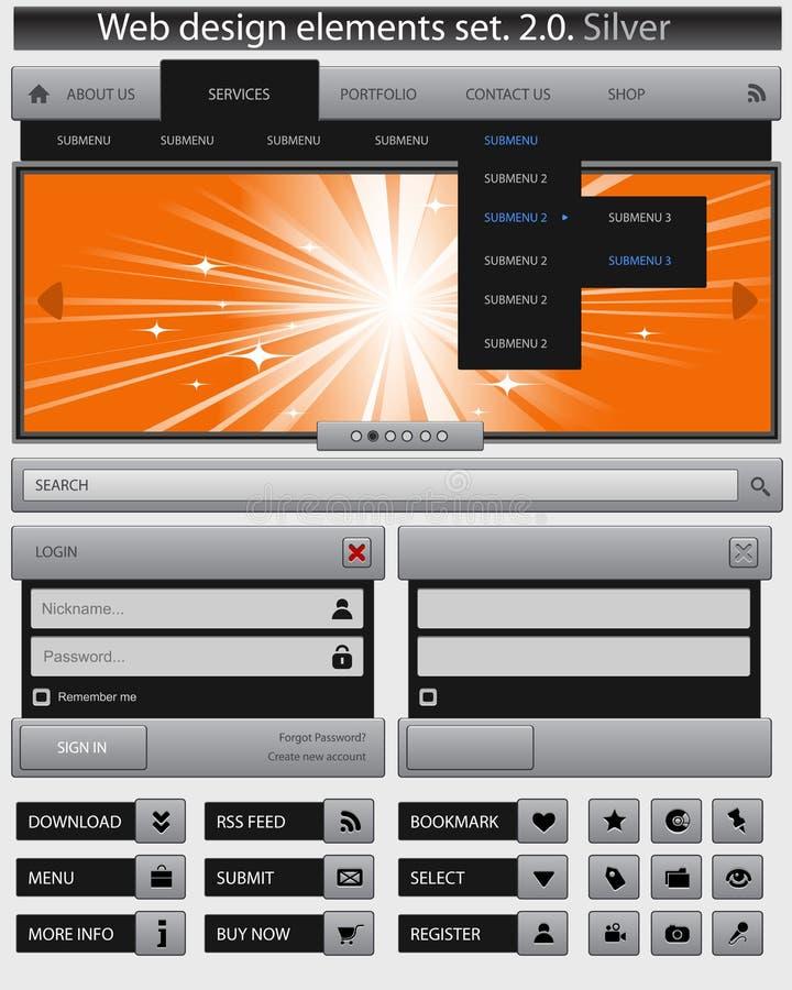 Jogo de elementos creativo do projeto de Web. ilustração stock