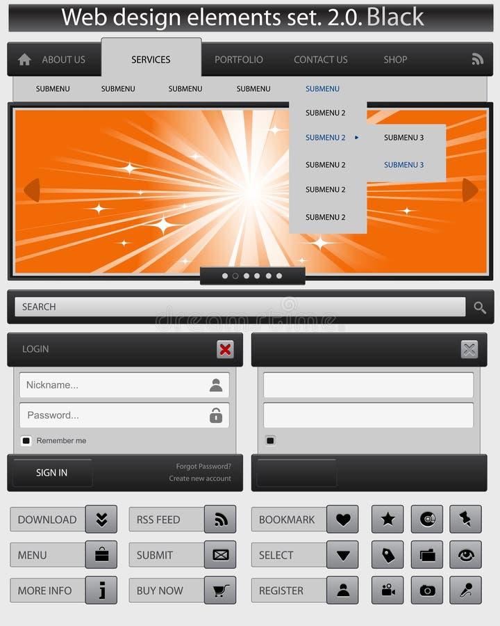 Jogo de elementos creativo do projeto de Web. ilustração royalty free