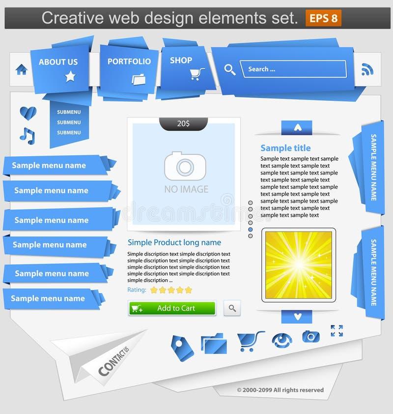 Jogo de elementos creativo do projeto de Web ilustração do vetor