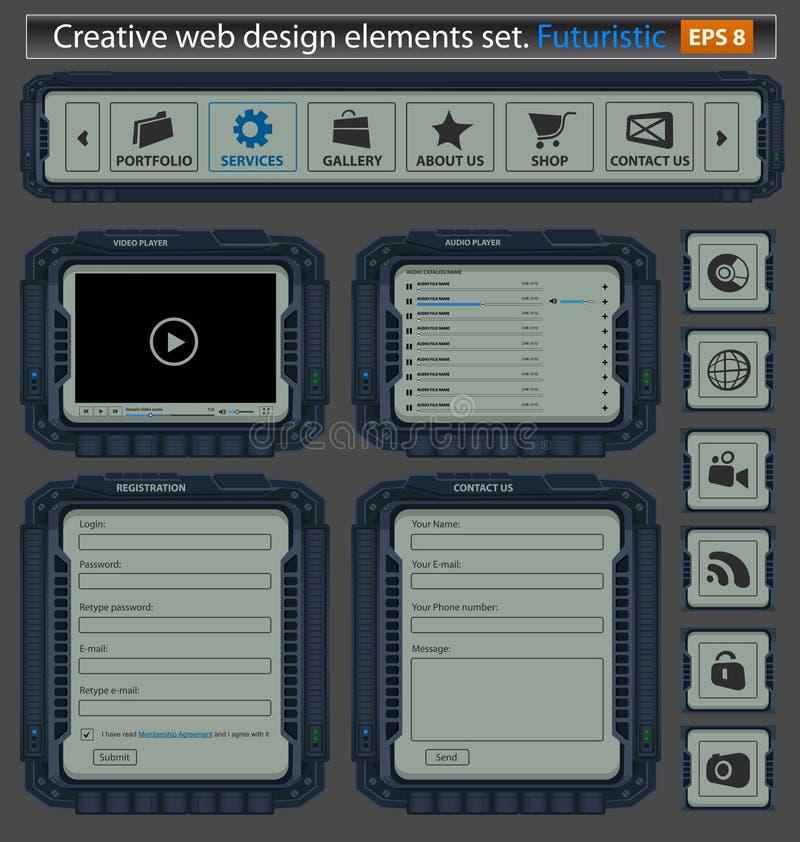 Jogo de elementos creativo do projeto de Web. Futurista. ilustração do vetor