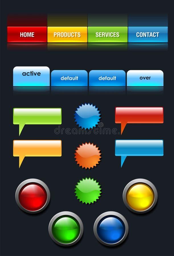 Jogo de elementos da interface de utilizador do Web ilustração do vetor