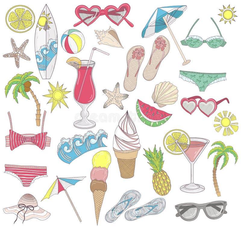 Jogo de elementos da praia do verão. ilustração stock