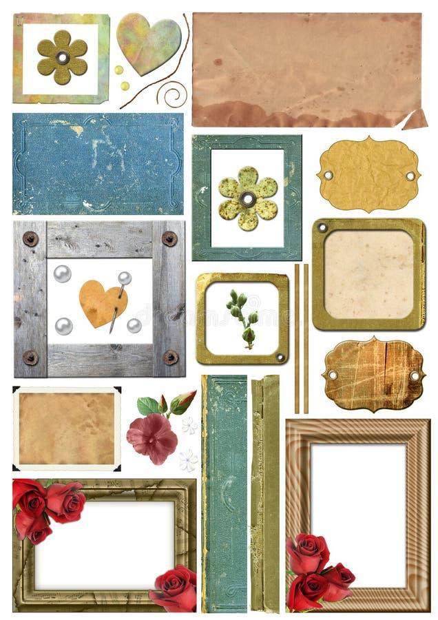 Jogo de elementos da sucata, quadros, bordas da foto, papel ilustração royalty free