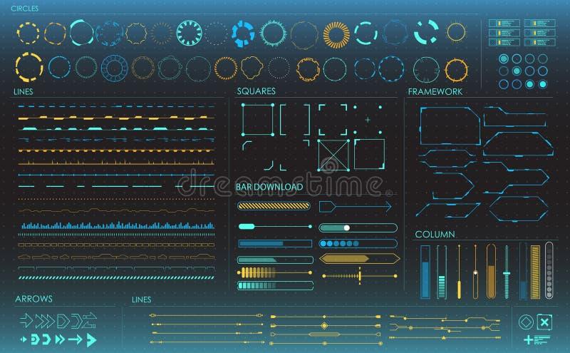 jogo de elementos de Infographic Elementos de exposição da cabeça-acima para a Web e o app Interface de utilizador futurista Gráf ilustração royalty free