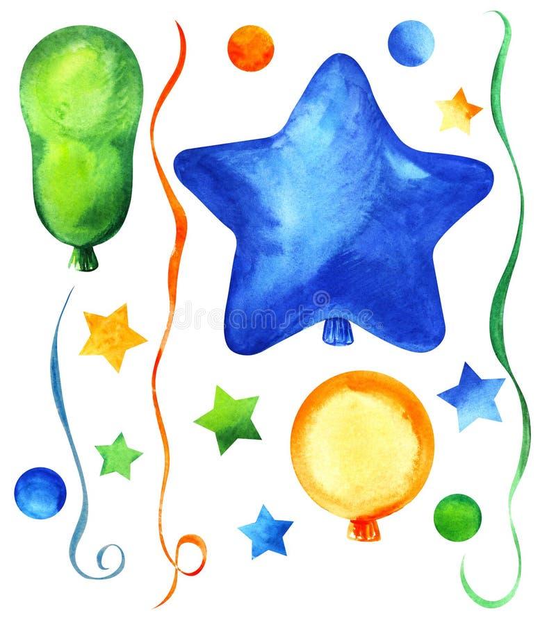 Jogo de elementos decorativos Balões do partido de formas diferentes: Redondo, alongado; círculos, estrelas, flâmula Azul, verde, fotos de stock