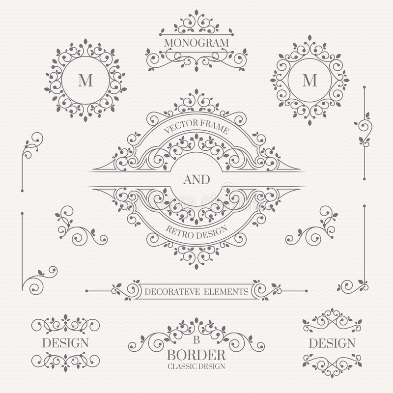 Jogo de elementos decorativos Monogramas decorativos, beiras, quadro ilustração do vetor
