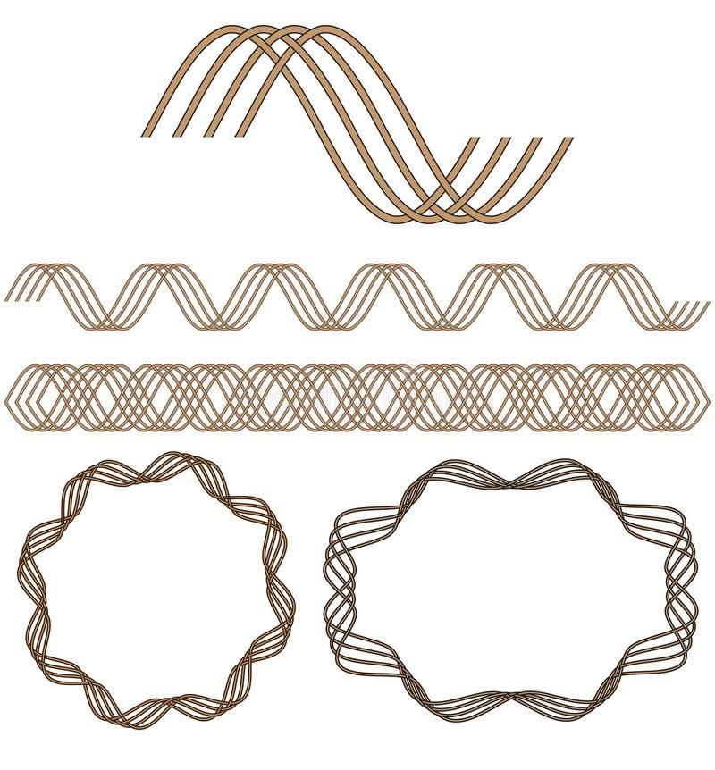 Jogo de elementos decorativos sem emenda. ilustração royalty free