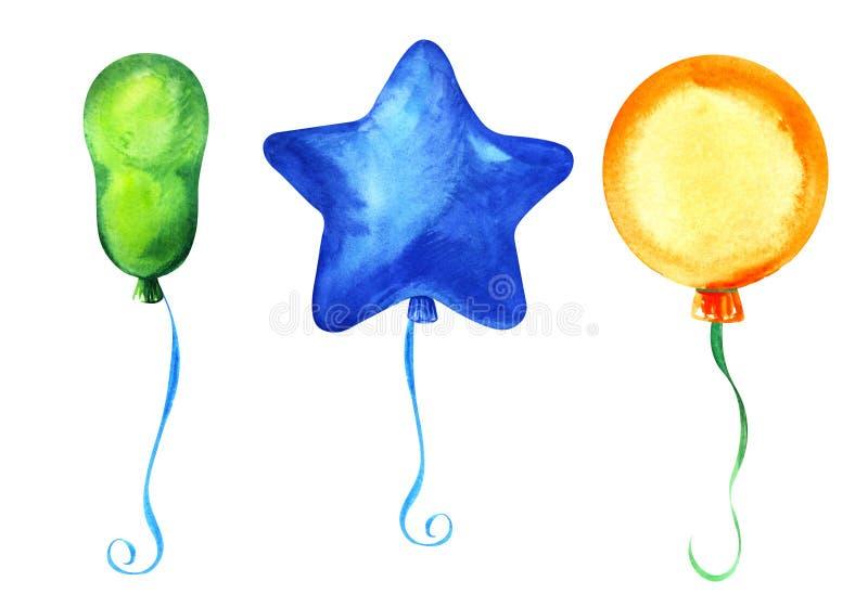 Jogo de elementos decorativos Três balões de formas diferentes: Redondo, alongado, estrela, em fitas fotografia de stock