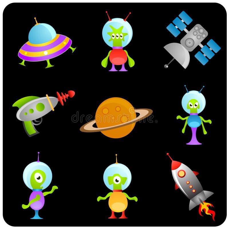 Jogo de elementos do espaço ilustração do vetor